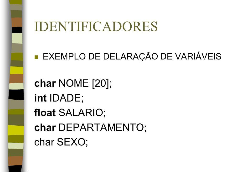 IDENTIFICADORES char NOME [20]; int IDADE; float SALARIO;
